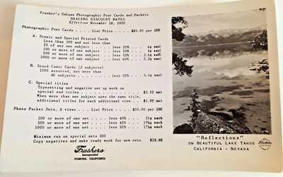 Vintage Frasher RPPC's Cal Mission & Donkeys Proofs, Samples Original Price list