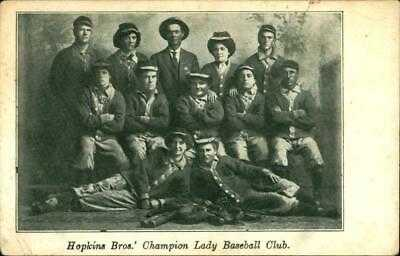 1910 Baseball Postcard Hopkins Brothers Bloomers JL WILKINSON HOF NEGRO LEAGUES