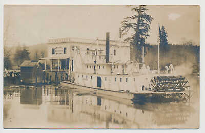 RPPC Steamer Mathloma Sternwheeler Grays River Washington WA Astoria Real Photo