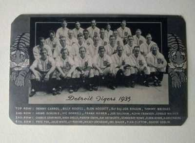 Vintage 1935 Detroit Tigers Postcard