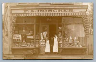 BROOKLYN NY RIDGEWOOD AVE GROCERY STORE FRONT ANTIQUE REAL PHOTO POSTCARD RPPC