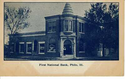 1910 PHILO, IL / ILLINOIS - FIRST NATIONAL BANK - ORIGINAL POSTCARD -