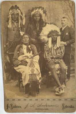 Original 1889 Photograph of Four Sioux Chiefs & Interpreter by J. A. Anderson
