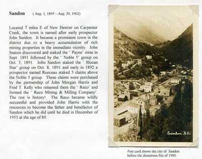 Canada BC British Columbia - Kootenays - Sandon - Early Town View RPPC Postcard