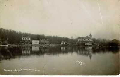 RPPC 1911 FOX LAKE IL ILLINOIS - HOTEL ON THE NIPPERSINK - REAL PHOTO POSTCARD