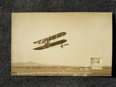 RPPC Postcard, Philip Parmalee in Wright Standard San Francisco Aviation Meet