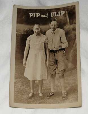 Circus sideshow performers real photo postcard PIP and FLIP