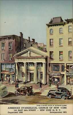 Armenian Evangelical Church New York City ~ artist art postcard by Raymond Perry