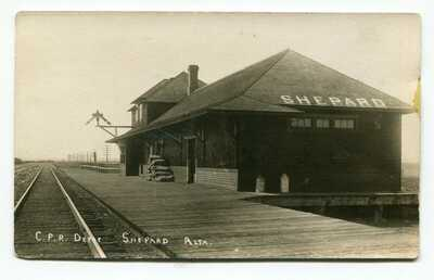 Canada AB Alberta - Shepard - CPR Railway Depot / Station - RPPC Photo Postcard