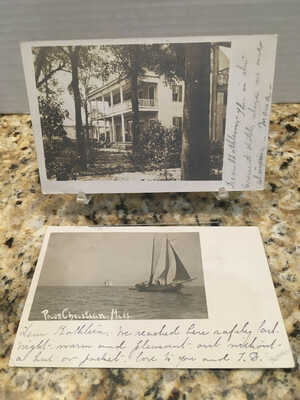 2 Postcards 1906: Crescent Hotel + Sail Boats on Gulf Pass Christian Mississippi