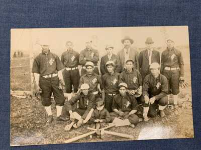 Rare 1909 RPPC Native American / Indian Baseball Team Lac Cu Flambeau WI