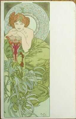 Alphonse Mucha/Artist-Signed 1900 Art Nouveau Postcard: Precious Stones- Emerald