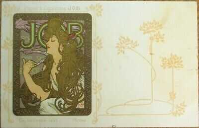 Mucha / Artist-Signed 1897 Job Cigarette Paper Advertising Postcard- Art Nouveau