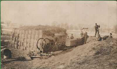 Vintage RPPC Michigan MI Postcard Men Bailing Hay Machine Alcona
