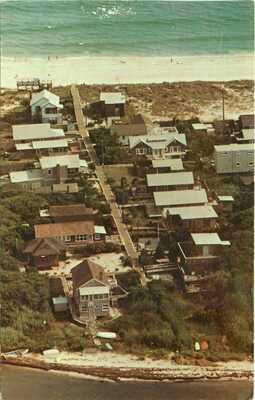 CHERRY GROVE, FIRE ISLAND LI NY AERIAL VIEW BAY TO OCEAN 1977 CHROME POSTCARD