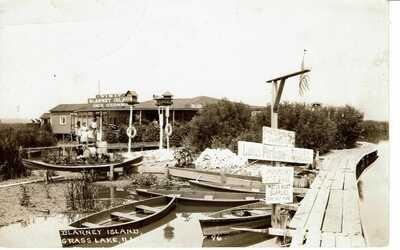 RPPC 1923 GRASS LAKE IL ILLINOIS - BLARNEY ISLAND - BOATS - REAL PHOTO POSTCARD