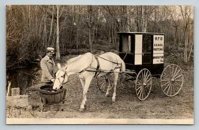 BRIDGETON NEW JERSEY US MAIL HORSE & BUGGY W/ MAILMAN RFD ROUTE 1 RPPC 1909