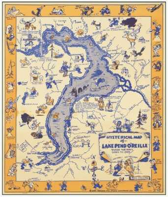 "Original 1944 - ""Hysterical Map of Lake Pend O'Reille"""