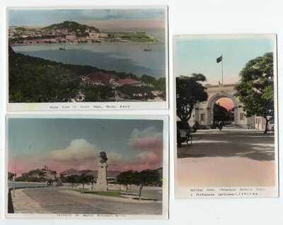 Macau - Group of Three Colorized RPPC Photo Postcards - EARLY -