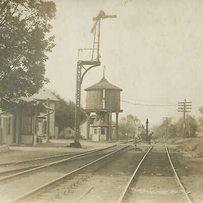 1913 RARE RPPC Postcard Hamlet FISHERS RAILROAD DEPOT Town of Victor NY RFD