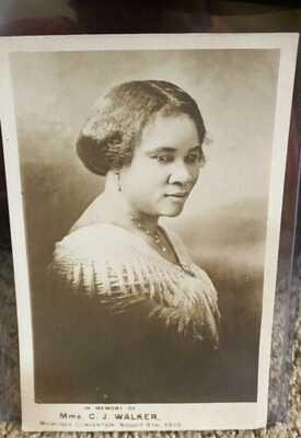 MADAM CJ WALKER Postcard Muskogee Convention 1919, Rare Photo - Black Americana