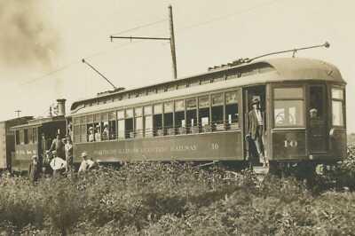 c1911 Electric RAILROAD Train Car No 10 LEE CENTER ILLINOIS RPPC Postcard RARE
