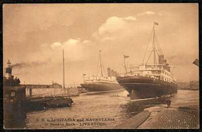 1910 RMS LUSITANIA & MAURETANIA SHIPS IN SANDON DOCK LIVERPOOL POSTCARD CUNARD