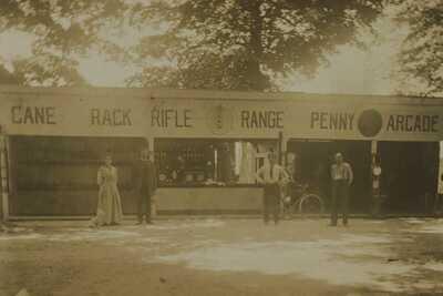 1914 Findlay OH Penny Arcade Rifle Range Cane Rack Carnival Booths RPPC Photo