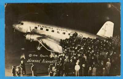 """Newark, NY, Airport, """"Florida Flyer"""" Eastern Airlines RPPC Real Photo Postcard"""