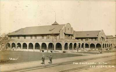 1911 NEW MEXICO RPPC REAL PHOTO POSTCARD: THE GASTANEDA HOTEL, LAS VEGAS, NM