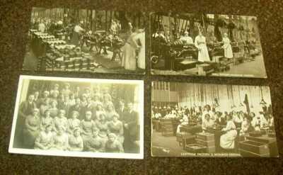4 x WW1 MUNITION GIRLS WOOLWICH FACTORY WOMEN WAR WORKERS REAL PHOTO POSTCARDS