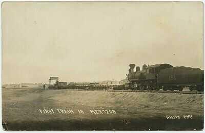 c1910 Early First Train MERTZON TEXAS K C M & O Railroad RPPC Postcard by WASSON
