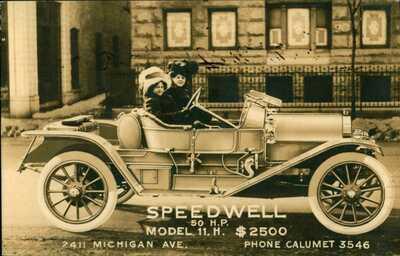 1911 RPPC ADVERTISING POSTCARD Speedwell Automobile  Dayton Ohio Sold In Chicago