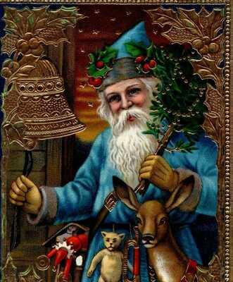 Antique Blue Robe Santa Christmas Gold Gilt Germany c1910 Tree Reindeer Postcard