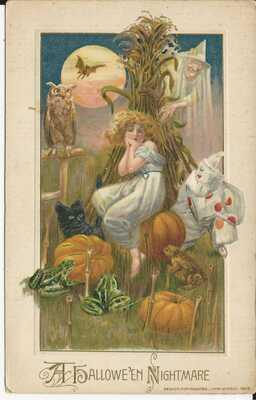 JOHN WINSCH A HALLOWEEN NIGHTMARE GIRL CLOWN WITCH FROG OWL BLACK CAT MOON BAT