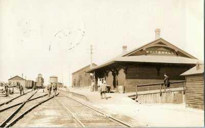 1909 Whitehall Montana MT NP Station Depot Train Workers RPPC Photo Postcard