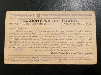 Zion's Watch Tower Watchtower Postcard Bible Tract Society 1907 Jehovah Witnes