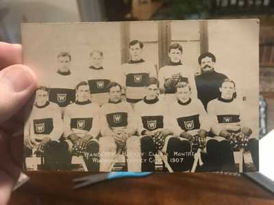 1907 Postcard Stanley Cup Winners Montreal Wanderers Hockey Great Shape