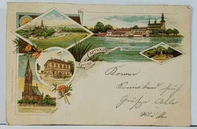 DANZIG Gruss Aus CARTHAUS c1899 Poland Germany RARE Multi View Postcard K19