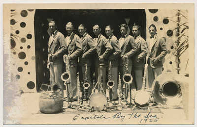 rppc JAZZ SAX BAND @ HAWAIIAN GARDENS CAPITOLA CA real PHOTO SANTA CRUZ COUNTY