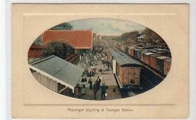 PASSENGER ALIGHTING AT TOUNGOO STATION: Burma postcard (C47317)