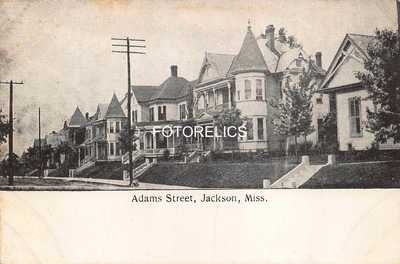 Jackson Mississippi Early Post Card of Adams Street
