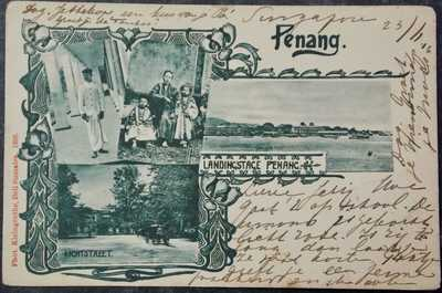 MALAY MALAYA postcard - 1903 LITHO PENANG Multi View - Straits Settlements