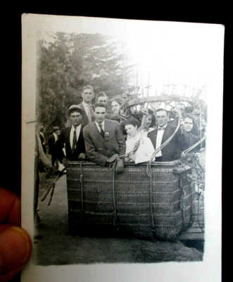 Redlands CA 1910 Hot Air Balloon Basket & Passengers w/ Message about Trip