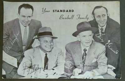 Rare Vintage Baseball Announcers Jimmy Dudley, Jack Graney, Al Hoegler Postcard