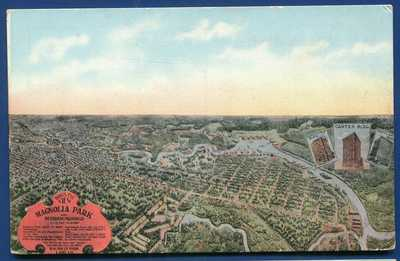 Houston Texas tx Magnolia Park and surroundings old postcard