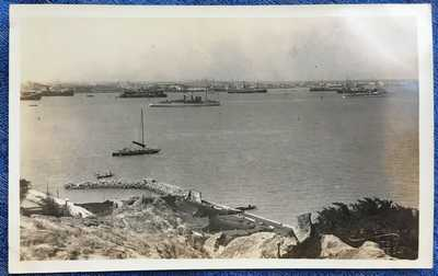 RPPC Steamers, Battleships Swatow Shantou Harbor, China 1927 by Mee Cheung & Co.