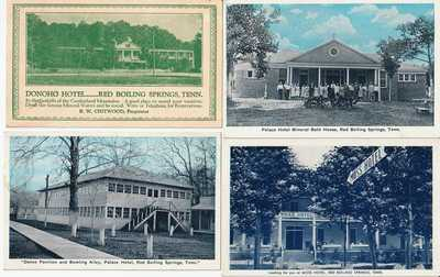 4 Postcards Red Boiling Springs TN Donoho Moss Palace Hotel Bowling Dance Bath