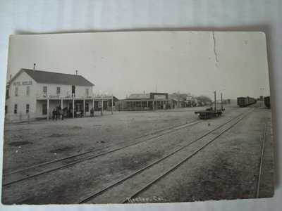 Antique RPPC Keeler Inyo Co. CA St. Scene Hotel Keeler Horses Train Tracks