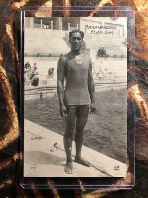 Hawaii DUKE KAHANAMOKU Surfer 1924 Olympics RPPC Photo Postcard Paris AN